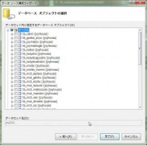 データセット内に指定するデータベース オブジェクト